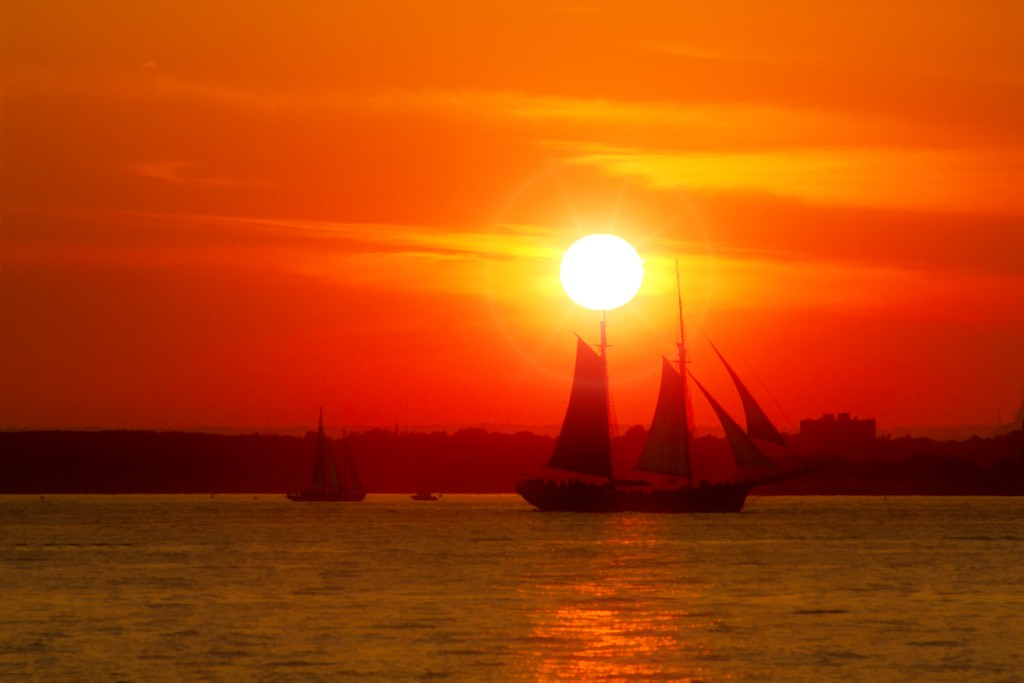 A sailing ship in New York Harbor, shot from Red Hook, Brooklyn.