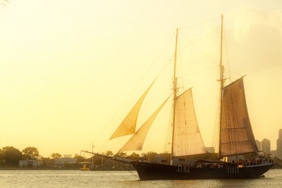 A ship in New York Harbor, shot from Red Hook Brooklyn.