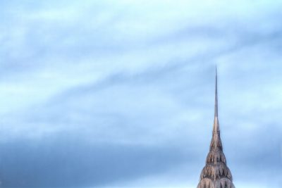 A negative space shot of the Chrysler Building.