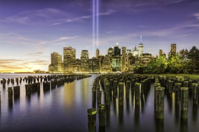 The annual Tribute In Light memorial to the victims of the September 11 attacks, taken from Brooklyn Bridge Park.